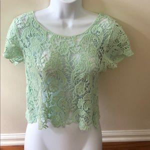 Green Lace Knit Crop Top